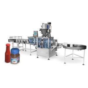 Machine voor het afvullen van flessen of potten